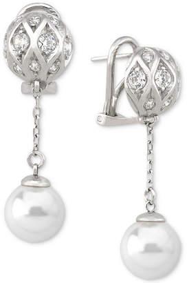 Majorica Sterling Silver Pave Bead & Imitation Pearl Drop Earrings