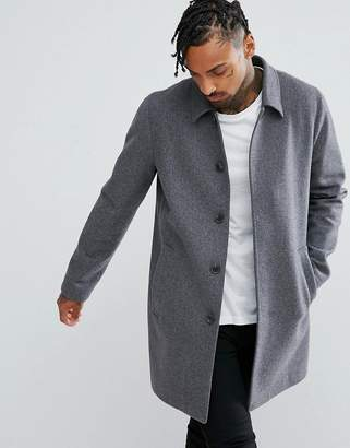 Asos Wool Mix Trench Coat In Light Gray