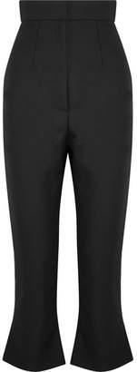 Jacquemus Le Corsaire Trompette Cropped Wool And Cotton-blend Flared Pants - Black