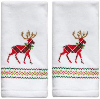 Dena Reindeer Cotton 2-Pc. Fingertip Towel Set