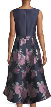 Donna Ricco Taffeta Floral-Skirt High-Low A-Line Cocktail Dress