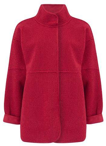 Albany Reversible Sherpa Coat in Red