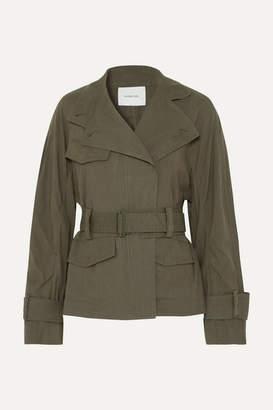 Vince Belted Linen-blend Jacket - Army green
