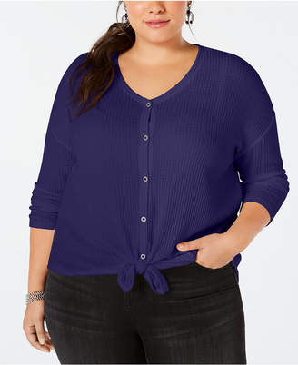 Style&Co. Style & Co Plus Size V-Neck Thermal Top, Created for Macy's