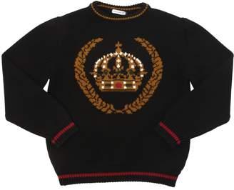 Dolce & Gabbana Crown Intarsia Wool Knit Sweater
