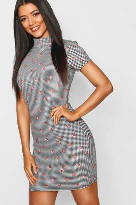 boohoo High Neck Cap Sleeve Dogtooth Mini Dress