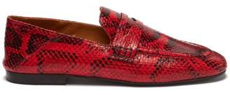 0c233f9c729 Isabel Marant Fezzy Snakeskin Effect Leather Penny Loafers - Womens - Red  Multi