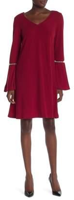 Robbie Bee Bell Sleeve Pearl Detail Dress