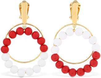 Marni Beaded Hoop Clip-On Earrings