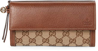 Gucci Beige & Ebony Bree Canvas & Leather Flap Wallet