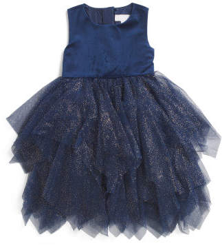 Girls Sleeveless Special Occasion Mesh Dress