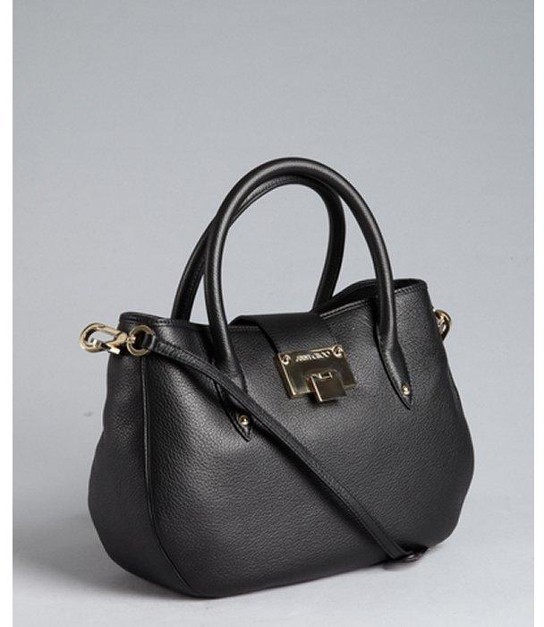 Jimmy Choo black pebbled leather 'Raina' shoulder bag