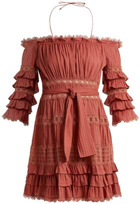 Zimmermann Corsair off-the-shoulder ruffled cotton dress