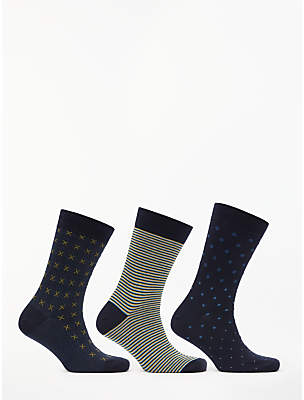 John Lewis & Partners Made in Italy Egyptian Cotton Pattern Socks, Pack of 3, Blue/Multi