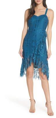 Foxiedox Lace Ruffle Sleeveless Cocktail Dress