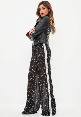Missguided Black Sheer Mixed Floral Wide Leg Pants