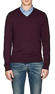 Piattelli MEN'S WOOL V-NECK SWEATER-WINE SIZE XL