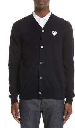 Comme des Garcons White Heart Wool Cardigan