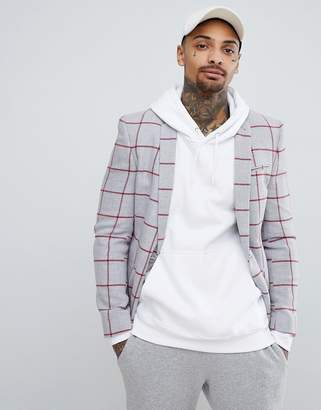 Asos Design DESIGN Super Skinny Blazer In Light Grey Wool Mix With Red Check