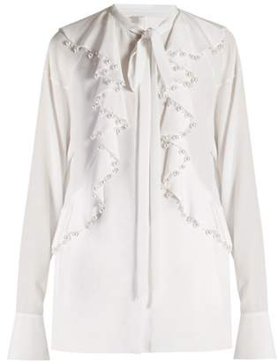 Givenchy - Faux Pearl Embellished Ruffled Blouse - Womens - White