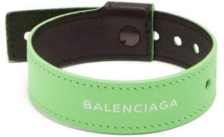 Balenciaga Logo Print Leather Bracelet - Mens - Green