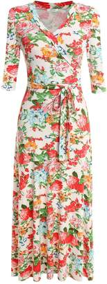 Meaneor Womens Wrap V Neck Split Floral Print Flowy Party Maxi Dress, Navy/