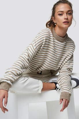 Camille Botten X Na Kd Balloon Sleeve Striped Sweater Beige/White Stripe