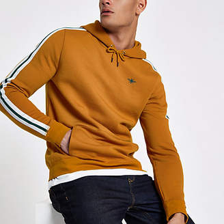 River Island Yellow tape side slim fit hoodie