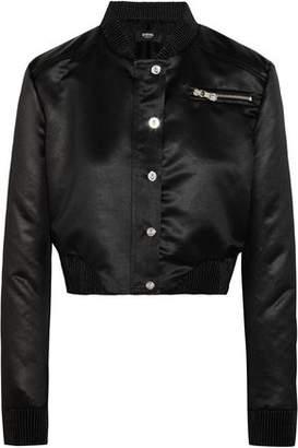 Versace Cropped Embellished Satin Bomber Jacket