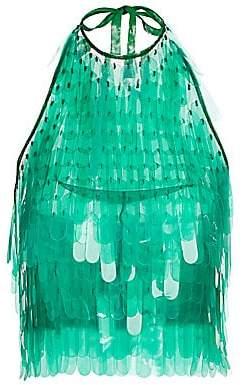Dries Van Noten Women's Sequin Feather Open-Back Halter Top