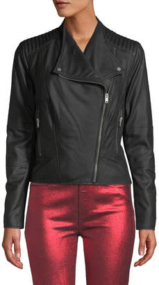 Andrew Marc Pelham Asymmetrical Zip Leather Scuba Jacket