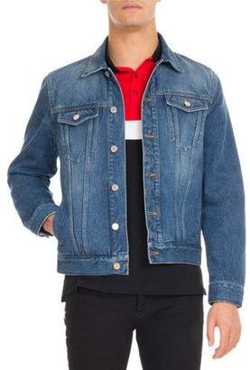 Givenchy Logo-Print Denim Trucker Jacket, Blue $1,395 thestylecure.com
