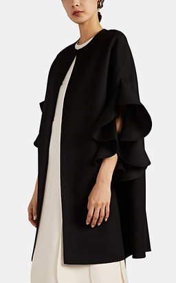 Valentino Women's Ruffle-Trimmed Wool-Cashmere Melton Cape - Black