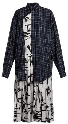 Balenciaga Layered Cotton And Silk Shirtdress - Womens - Blue Multi