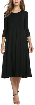 Amstt Women's 3/4 Sleeves Crew Neck Flared Midi Long Dress