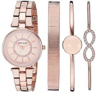Anne Klein Women's AK/3286LPST Swarovski Crystal Accented Blush Pink and Rose Gold-Tone Watch and Bracelet Set