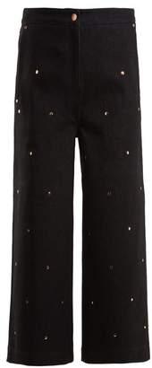 Osman Ciara Stud Embellished Wide Leg Jeans - Womens - Black
