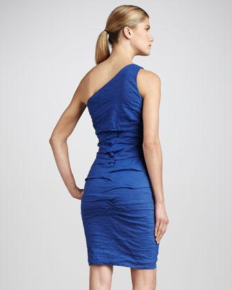 Nicole Miller One-Shoulder Folded Cocktail Dress
