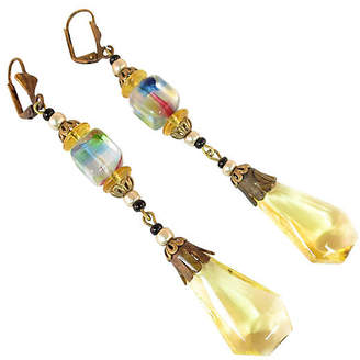 One Kings Lane Vintage 1920s Czech Lemon Crystal Earrings - Neil Zevnik