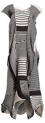 Issey Miyake Women's Random Rib Cap Sleeve Midi Dress