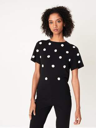 Oscar de la Renta Polka Dot-Embroidered T-Shirt
