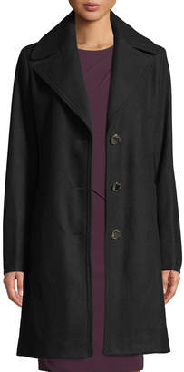 Iconic American Designer Single-Breasted Wool Reefer Coat