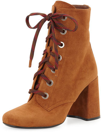 pradaPrada Suede Lace-Up Block-Heel Boot