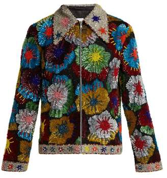 Ashish - Floral Bead And Sequin Embellished Cotton Jacket - Womens - Multi
