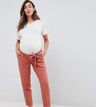 Asos Design DESIGN Maternity woven peg pants with obi tie