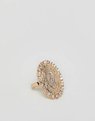 Icon Eyewear Asos Design ASOS DESIGN ring with vintage style and crystals in gold