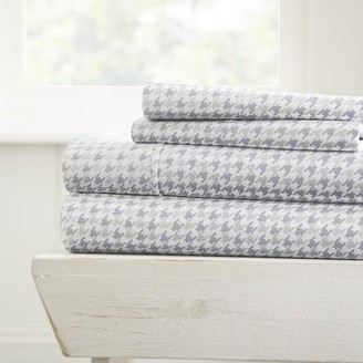 Noble Linens Ultra Soft Hounds Tooth Pattern 4 Piece Bed Sheet Set