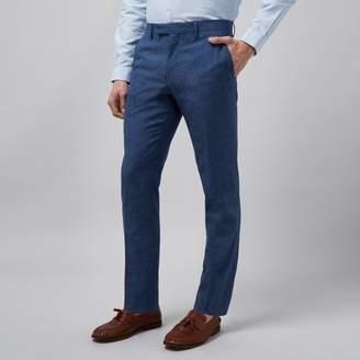 River Island Mens Blue linen slim fit suit trousers