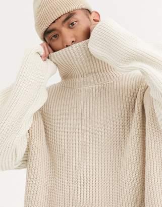 Asos Design DESIGN oversized funnel neck sweater in ecru