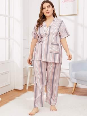 Shein Plus Striped Tie Side Pajama Set With Eye Mask